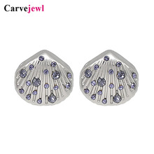 Carvejewl small stud earrings cute shell lilac rhinestone for women jewelry girl gift unique fashion Korean earing