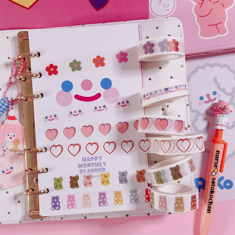 Kawaii Korean INS Style Bear Candy Smile Flower Masking Washi Tape DIY Scrapbooking Diary Decoration Stationery Adhesive Tape