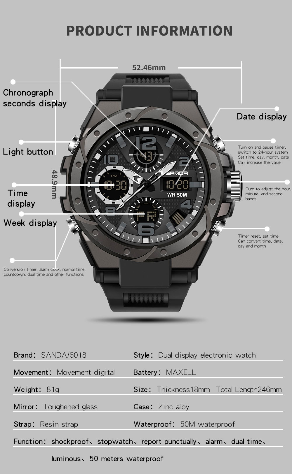 Ha5d4a676a82348198b9575e07c799caaS SANAD Top Brand Luxury Men's Military Sports Watches 5ATM Waterproof
