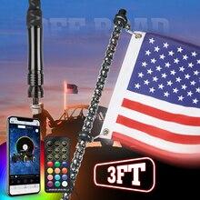 3FT UTV Bluetooth Fernbedienung 360 ° Spirale Jagen LED Peitsche Lichter Lenkung Bremsen Biegsamen für Polaris für Können bin X3