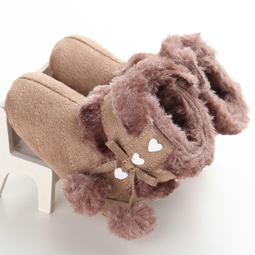 Fashion Winter Baby Shoes With Fur Ball Bow Boots Anti-skid Soft Cotton Boots Thick Warm Toddlers Shoes For Baby Girls