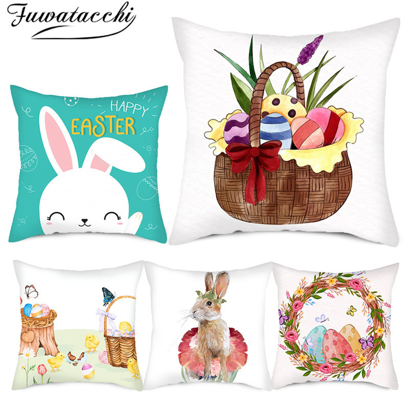 Fuwatacchi Cute Rabbit Animal Cushion Covers Happy Easter Pillow Cases For Home Bedroom Sofa Decorative Pillows Cover 45*45cm