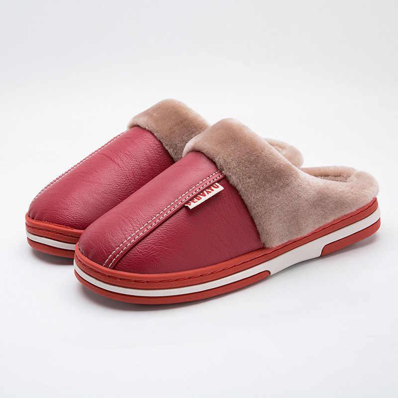 คู่ใหม่หนังรองเท้าแตะฤดูหนาวในร่มอบอุ่นลื่นรองเท้าแตะรองเท้าแตะสุภาพสตรีสกปรก Plush ปาก CoupleMen หนัง TOW