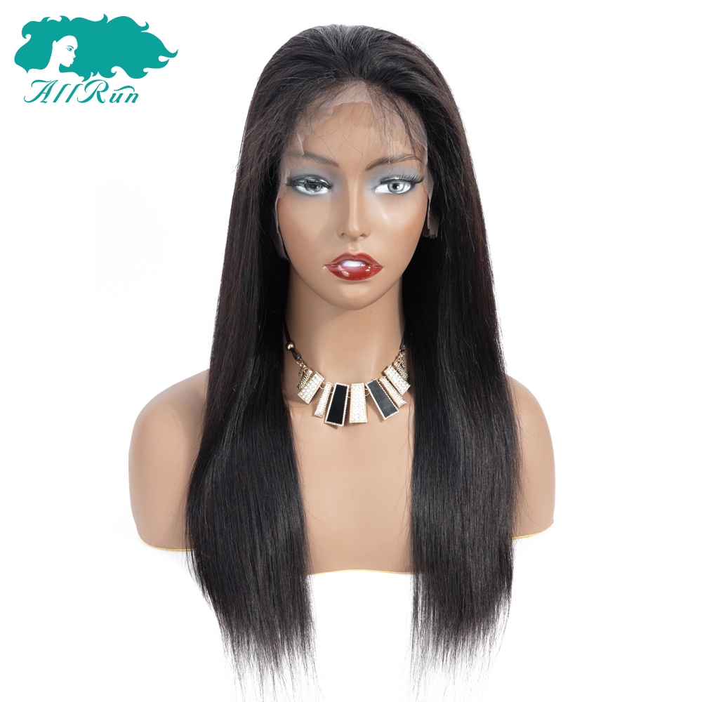 AllRun 360 Lace Frontal Wig Pre Plucked With Baby Hair Non Remy 360 Lace Frontal Human Hair Wig Brazilian Straight Hair