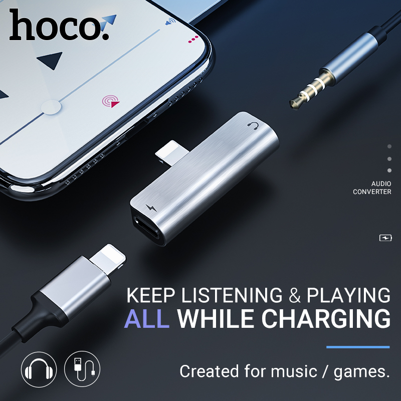 Hoco Audio Converter For Lightning To 3.5 Mm Headphones Adapter For Iphone Earphones Dongle Aux Jack Charging Music Adapter