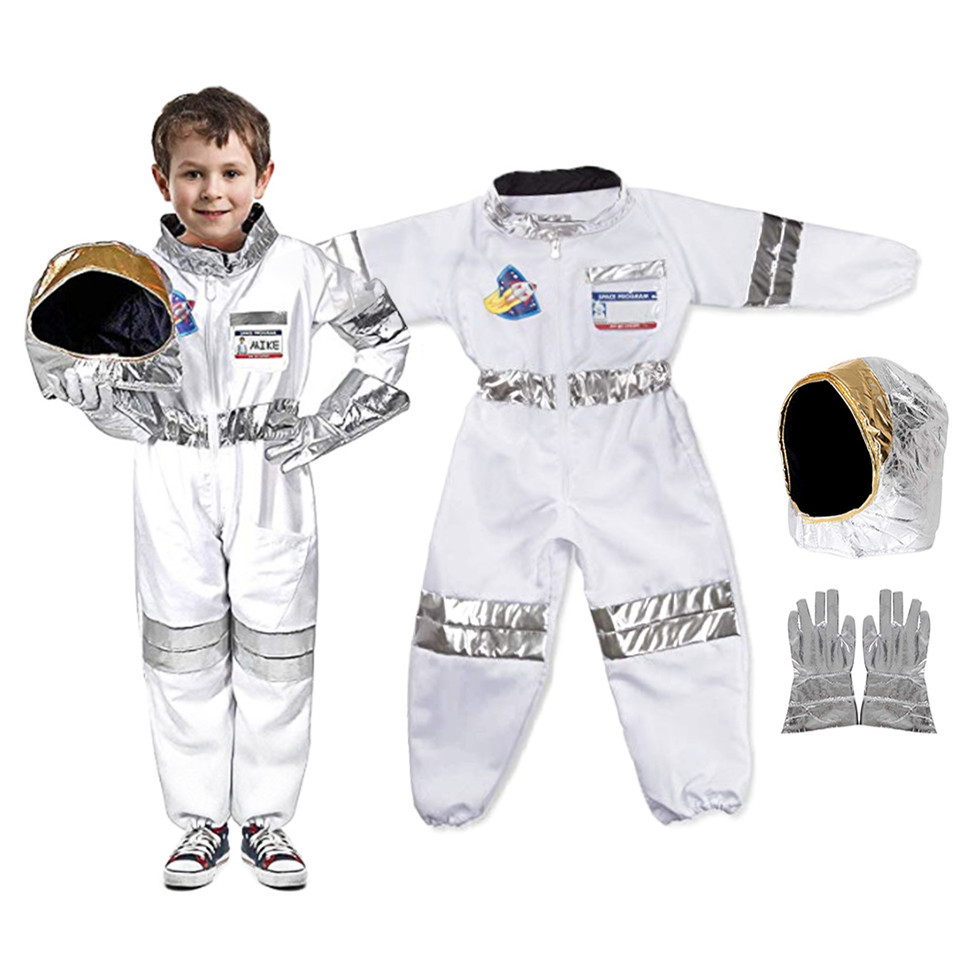 Childrens Party Game Astronaut Costume Role-Playing Halloween Costume Carnival Cosplay Full Dressing Ball Kids Rocket Space Suit
