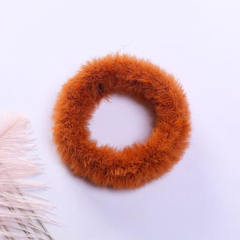 Новые зимние теплые мягкие резинки из кроличьего меха для женщин и девушек, эластичные резинки для волос, плюшевая повязка для волос, резинки, аксессуары для волос - Цвет: 53
