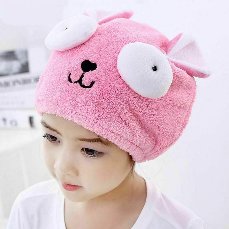 Cute Kids Girls Boys Hats Hair Drying Turban Towel Cartoon Quick Dry Hair Wrapped Bath Hat Animal Embroidery Super AbsorbentA