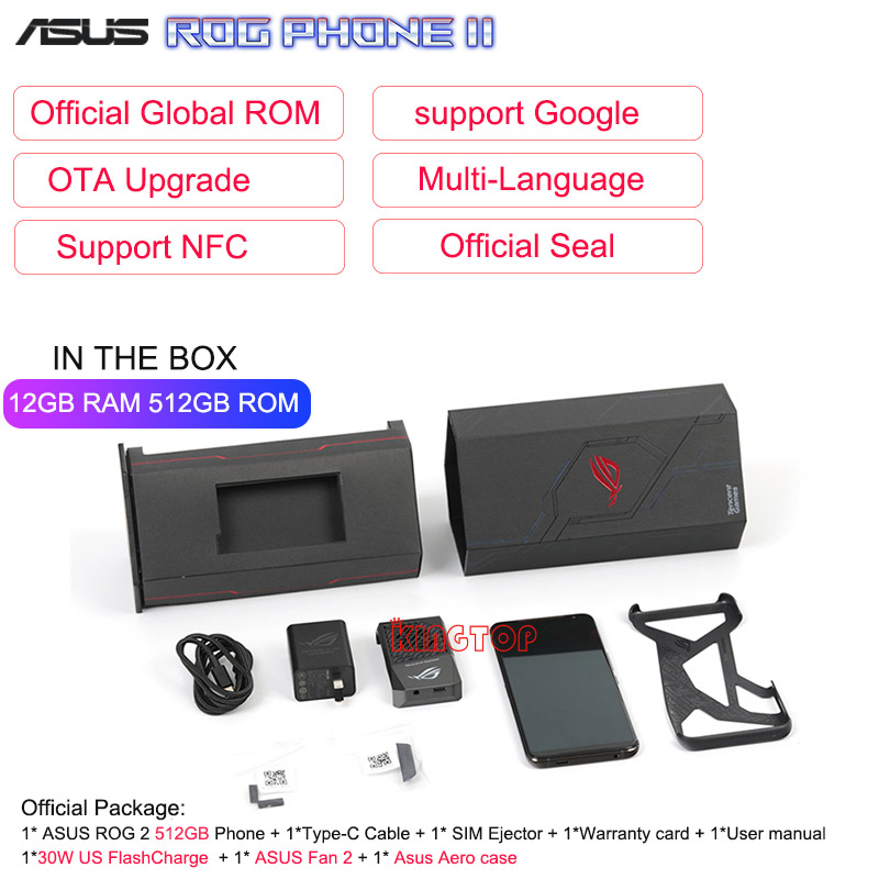 "Global ROM ASUS ROG Phone 2 Mobile Phone 6.59"" 12G 512G Snapdragon 855 Plus 2.96Ghz 48MP Android 9 6000mAh NFC Gaming Phone"