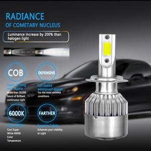 Image 2 - 2 шт. H7 H11 H1 H3 по технологии COB светодиодный головной светильник лампы H4 (Подол короче спереди и длиннее сзади) Луч 72W фары для 8000LM 6000 К авто фары 9005 HB3 9006 HB4 880 светодиодный автомобильный светильник