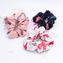 2019 Solid Flamingo Hair Scrunchies Houndstooth Fabric Hair Ties Floral Elastics Hairbands Ponytail Holder for Lady Accessories(China)