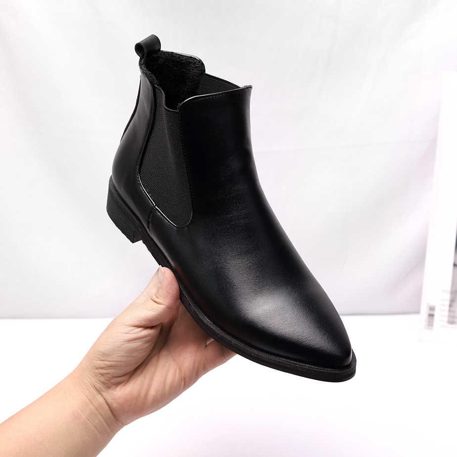 Mùa Thu Giữ Ấm Mùa Đông Nữ Mắt Cá Chân Giày Cao Gót Vuông Da Bò Chỉ Giày Bốt Martin Casual Bơm Size 34-44