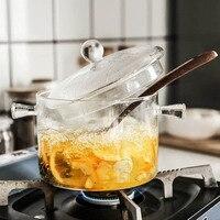 Креативная стеклянная кастрюля для приготовления лапши быстрого приготовления, 1л, 1.3л, емкость Ins, жаропрочная, морозостойкая, для приготов...