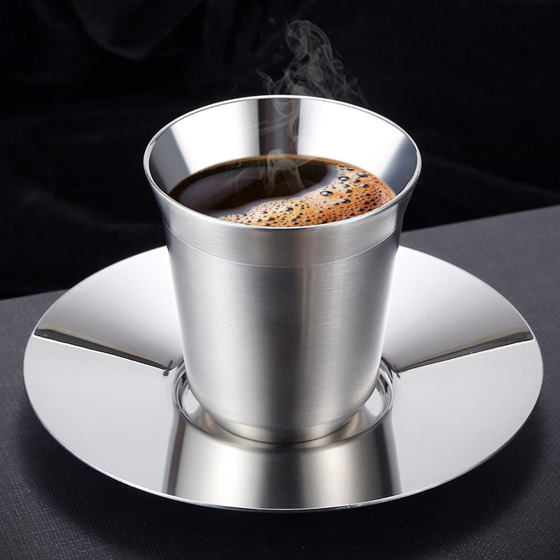 80ml Stainless Steel Espresso Cups Double Wall Stainless Steel Demitasse Cups