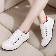 Womens Sneakers Flat Canvas Shoes Lace Up White Sho