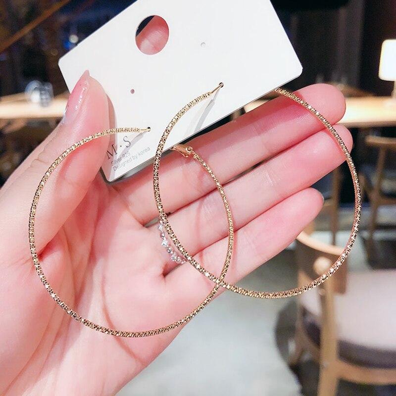 Новые модные большие серьги-кольца skyyat, баскетбольные серьги, блестящие Звездные бриллианты для женщин, ювелирные украшения, серьги-кольца