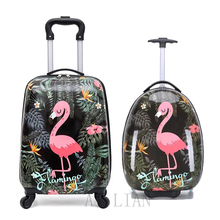 16''18 inch carry on suitcase kids rolling luggage cabin Travel trolley luggage bag children's Cartoon animal suitcase on wheels цена 2017