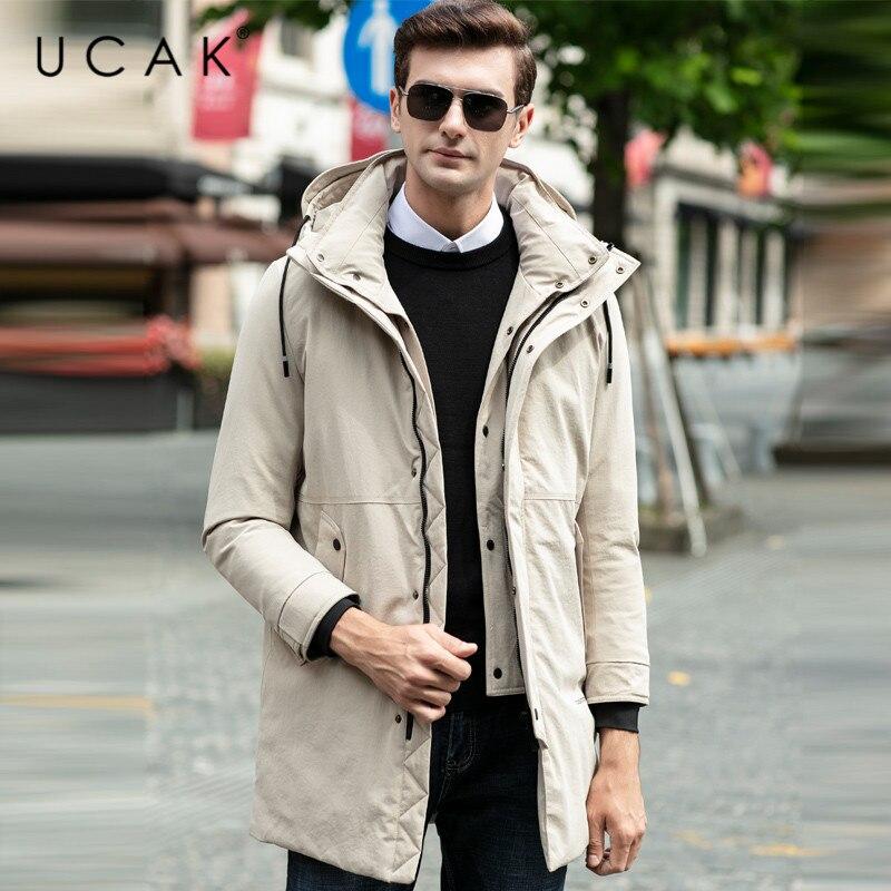 UCAK Brand Grey Goose Down Jackets Male Long Fashion Stylish Pockets Hooded Modern Casual 2019 Winter Men Clothing Jacket U8025