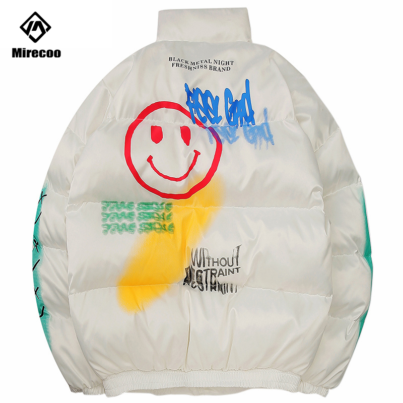 Hip Hop Parka Down Jacket Smile Face Graffiti Print Men Windbreaker Streetwear Harajuku Winter Padded Jacket Coat Warm Outwear