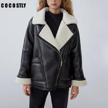 Новинка, зимняя модная повседневная крутая теплая мотоциклетная куртка, женская утепленная парка с начесом, уличная зимняя байкерская куртка из искусственной кожи