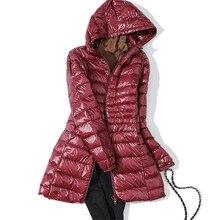 Sanishroly S-7XL Winter Women Midi Long Hooded Jacket Ultra Light Down