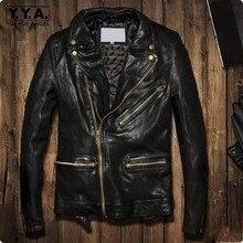 Зимние европейские мужские Куртки из натуральной кожи овечья кожа короткий, зауженный крой пальто на молнии Байкер Мотоцикл Блузон Cuir Homme