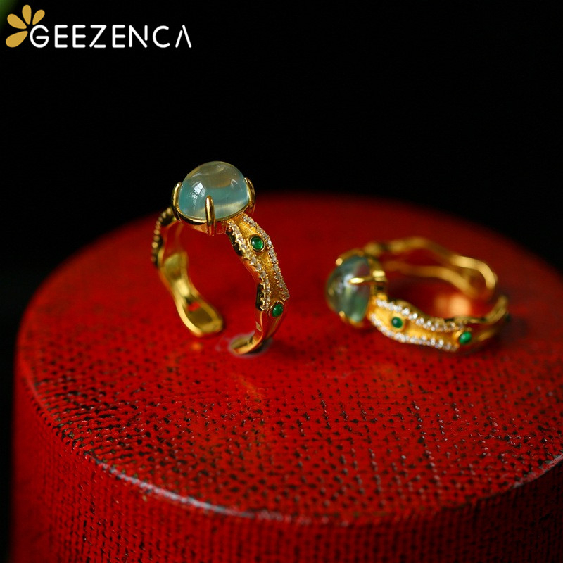 Vintage 925 Sterling Silver Gold Plated Prehnite Gemstone Women's Ring Luxury Trendy Natural Stone Rings Fine Jewelry Engagement