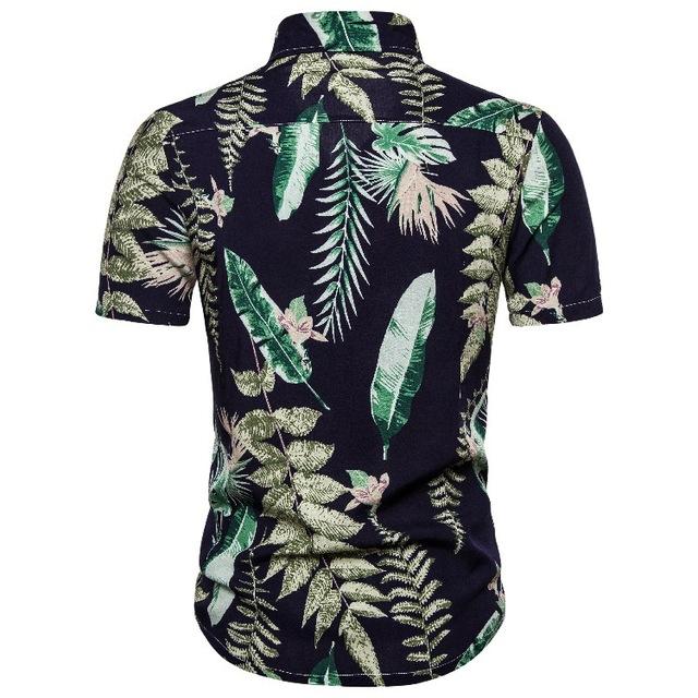 2020 hawajska kalafior koszulka w kwiatki z krótkim rękawem koszula z klapą tanie i dobre opinie Poliester Pasuje prawda na wymiar weź swój normalny rozmiar