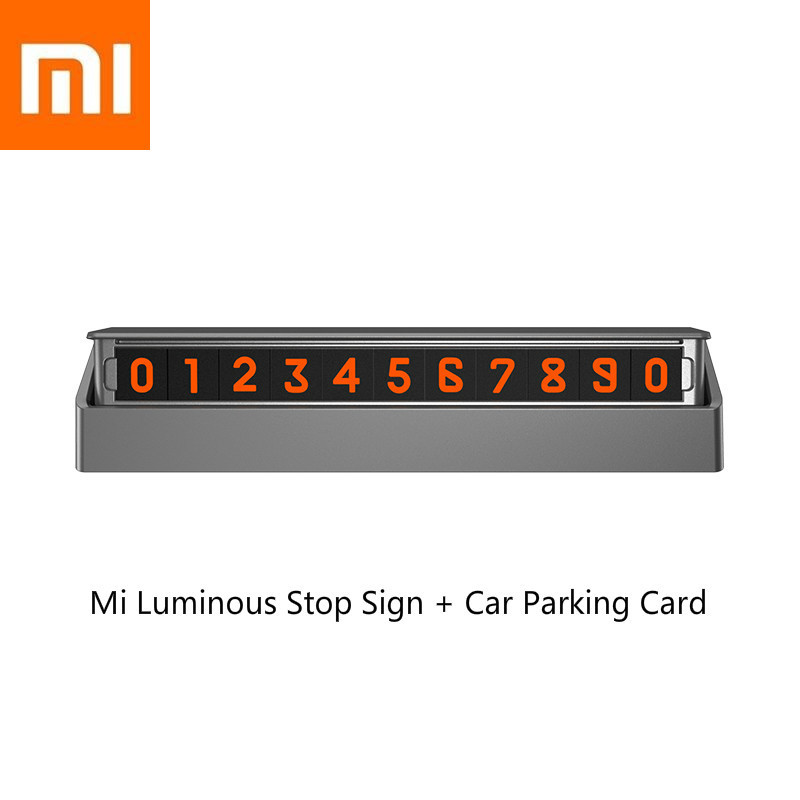 New Xiaomi Mi Luminous Stop Sign Car Parking Card Sticker Auto Magnetic Phone Number Card Plate Silver Gray Number Can Be Hidden