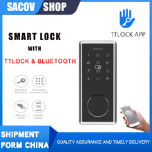 TTLock Door Smart Electric Lock TT Lock Bluetooth Wifi Passcode Rfid Card Keyless Front Electronic Lock Alexa google smart home