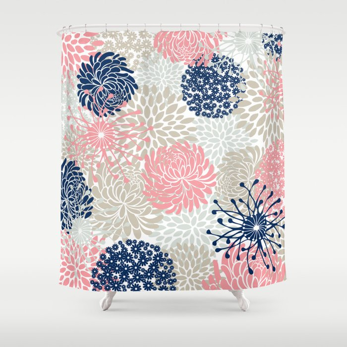 floral mixed blooms blush pink navy blue gray beige shower curtain waterproof polyester fabric 72 x 78 inches set with hook