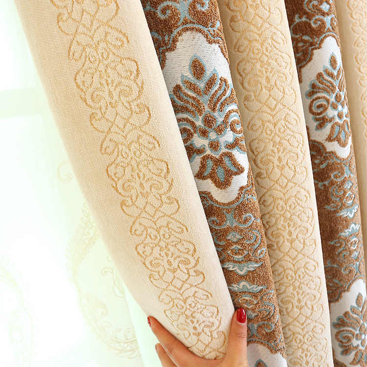 Thick Chenille Jacquard Curtains for Living Dining Room Bedroom  Blackout Curtains Custom