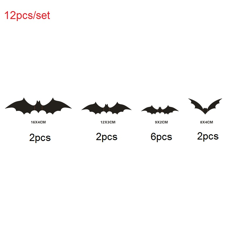 Ha5d6c062b917492bb7d32a186045ff22A - 12pcs/set Halloween Decoration 3D Bat Decoration Wall Sticker DIY Room Wall Decals Home Party Decor for Halloween Wall Stickers