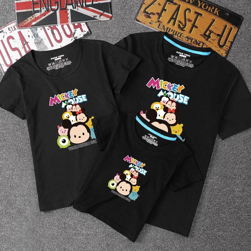 Disney mignon imprimé motif à manches courtes famille correspondant costume Parent enfant vêtements famille de trois vêtements décontracté-chemise
