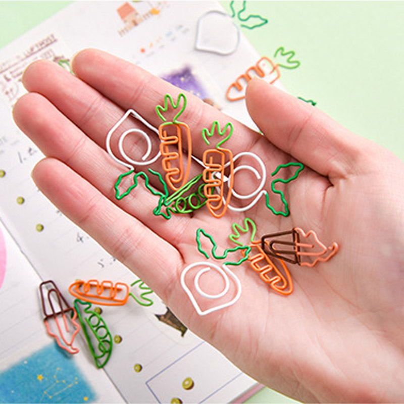 5pcs/lot Cartoon Fruit Shape Metal Paper Clip Cute Carrots Ice Cream Paperclips Planner Clips Bookmarks Office School Supplies