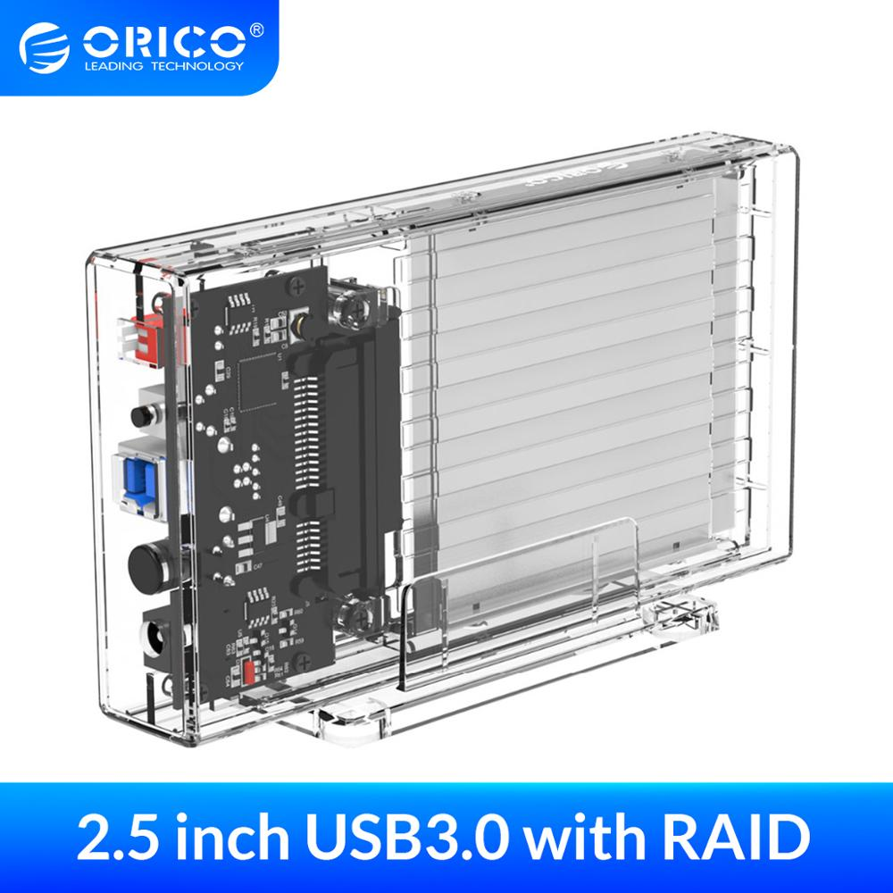 ORICO 2 Bay 2.5'' HDD Case With Raid Function SATA to USB 3.0 Transparent Hard Drive Box Support UASP for 7-9.5 mm HDD SSD 6TB(China)