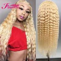Pelucas frontales rizadas transparentes 613 rubias del cordón del pelo humano de Remy brasileño 13x4 peluca Frontal del cordón Pre desplumado para las mujeres negras