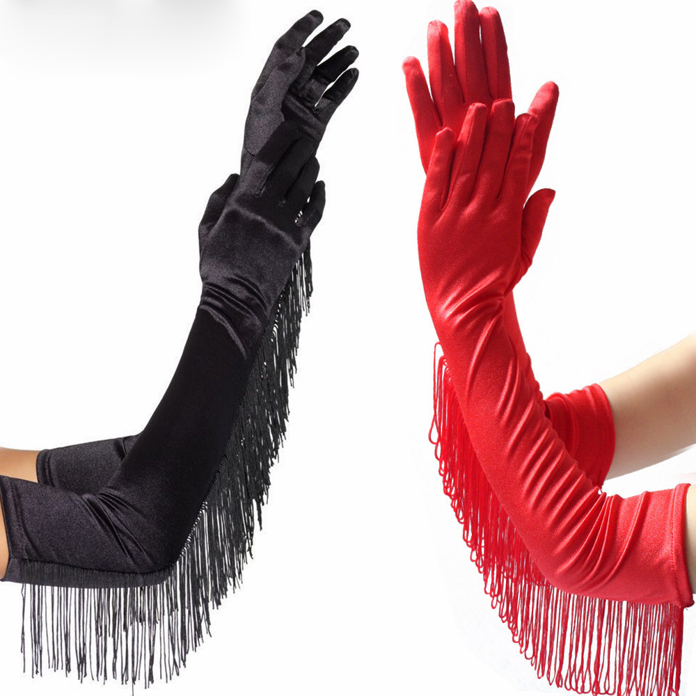 2020 Bridal Gloves Women Full Finger Elbow Long Satin White Black Red Wedding Party Dance Gloves Photography Accessory