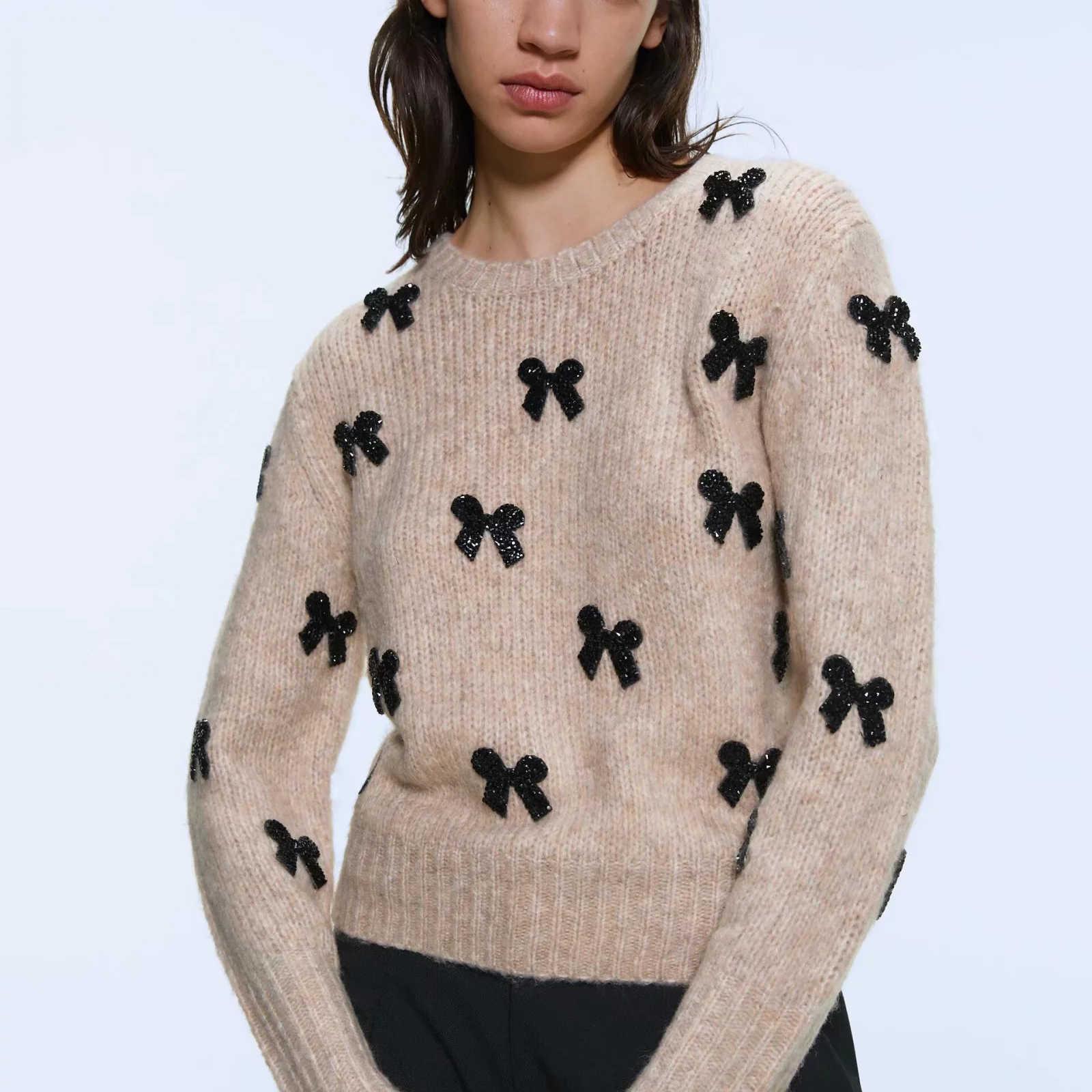 Za 女性秋冬暖かいトップニットちょうセータープルオーバーカジュアルプルスリム女性女性のセーター