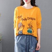 Women Spring Autumn Fashion Korea Style Vintage O Neck Long Sleeve Cartoon Patchwork Hollow Out Loos