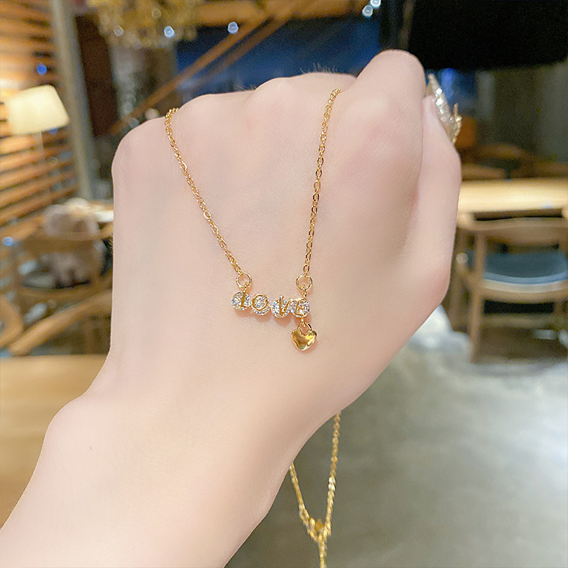 Lady Luck LOVE Letter Titanium Steel Necklace Female Zircon Electroplating Love Pendant Fashion Clavicle Chain