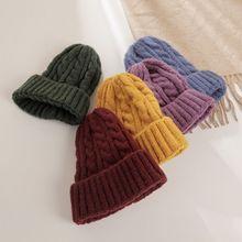 Женская шапка унисекс из смесового хлопка, однотонные теплые мягкие вязаные шапки в стиле хип-хоп, мужские зимние шапки, женские шапочки для девочек