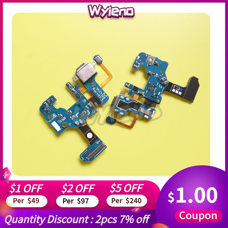 Wyieno For Samsung Note8 N950F N950U Charger Port Board USB Charging Connector Flex Cable Microphone Mic Plug Replacement Parts