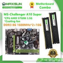 MAXSUN-placa base para ordenador, Combo Challenger A10 Super con ventilador CPU AMD 5750M RAM DDR3 8G1600MHz * 2 = 16G