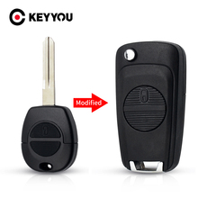 KEYYOU Modified Remote Flip Car Key Shell Replacement For Nissan Micra Almera Primera pathfinder maxima Fob 2 Button Uncut Blade