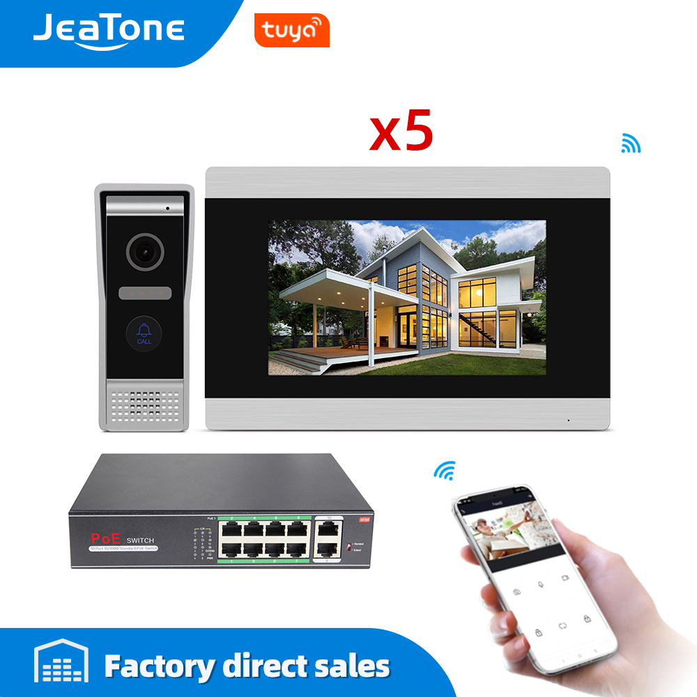 7'' Touch Screen Wireless WIFI IP Video Door Phone Intercom Video Doorbell Villa Access Control System Motion Detection 2-4 POE