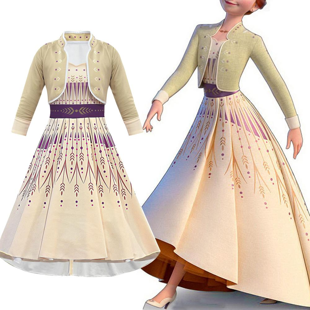 New Froz 2en Snow Girl Elsa Dresses Kids Halloween Cosplay Elsa Anna Costume Princess Ice Queen Children Party Long Elsa Dress