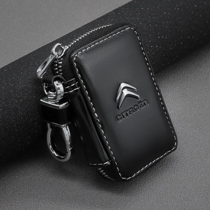 Leather Key Wallets Zipper Car Key Holders Buckle Key Case Housekeeper Holder For Citroen C2 C3 C4 C5 X7 Berlingo Xsara Picass