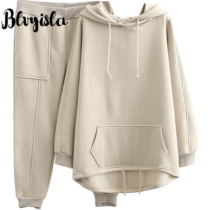 Blvyisla 100kg Female Solid Color Thicken Leisure Sports Keep Warm Fleece Winter Hooded Sweatshirt Suits Oversize Tracksuit Set