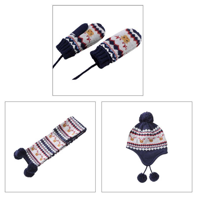 THINKTHENDO Kids Baby Winter Christmas Reindeer Pompom Earflap Beanie Cap Long Scarf Gloves